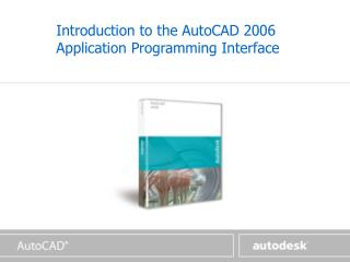 Introduction to the AutoCAD 2006 Application Programming Interface