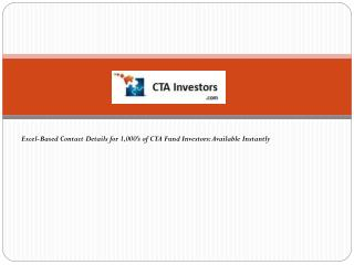 Excel-Based Contact Details for 1,000's of CTA Fund Investors: Available Instantly
