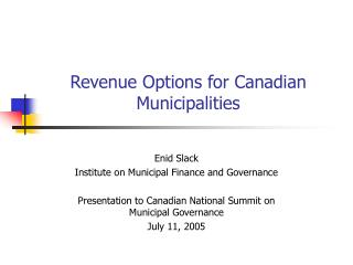 Revenue Options for Canadian Municipalities