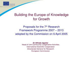 Building the Europe of Knowledge  for Growth