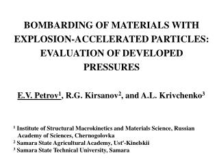 BOMBARDING OF MATERIALS WITH EXPLOSION-ACCELERATED PARTICLES: EVALUATION OF DEVELOPED PRESSURES