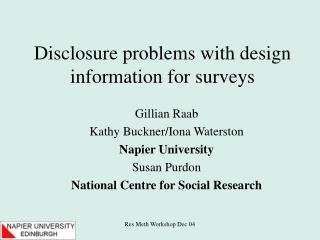 Disclosure problems with design information for surveys
