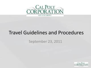 Travel Guidelines and Procedures