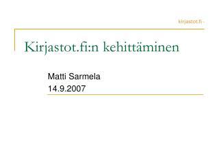 Kirjastot.fi:n kehittäminen