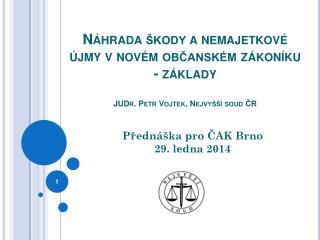 Přednáška pro ČAK Brno  29. ledna 2014