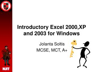 Introductory Excel 2000,XP and 2003 for Windows