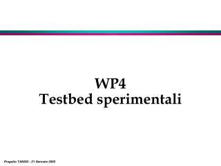 WP4 Testbed sperimentali