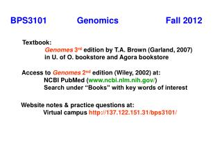 BPS3101      	Genomics			Fall 2012
