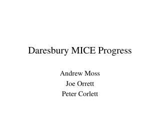 Daresbury MICE Progress