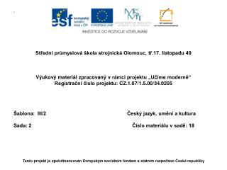 Střední  průmyslová škola strojnická Olomouc,  tř.17 . listopadu 49