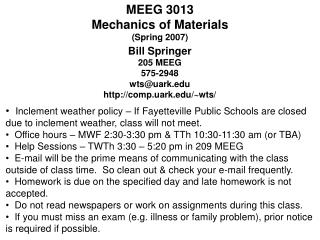 MEEG 3013 Mechanics of Materials (Spring 2007)