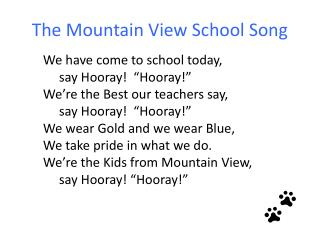 The Mountain View School Song