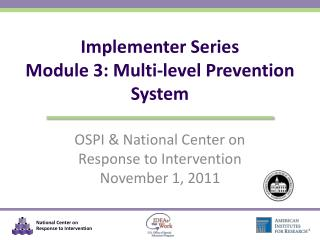 Implementer Series Module 3: Multi-level Prevention System