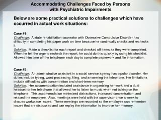 Accommodating Challenges Faced by Persons  with Psychiatric Impairments