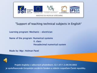 """""""Support  of teaching technical subjects  in  English """""""
