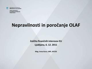 Nepravilnosti in poročanje OLAF
