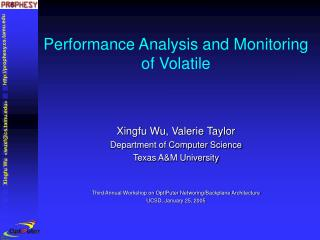 Performance Analysis and Monitoring of Volatile