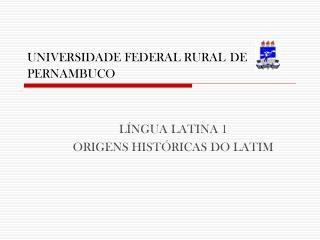 UNIVERSIDADE FEDERAL RURAL DE PERNAMBUCO