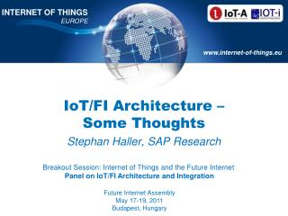 IoT /FI  Architecture  –  Some Thoughts