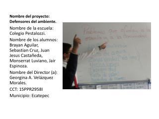 Nombre del proyecto: Defensores del ambiente.