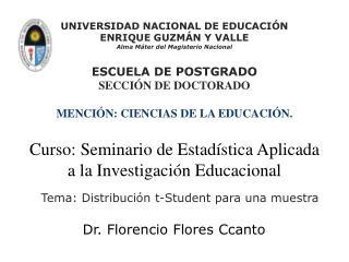 Tema: Distribución t-Student para una muestra