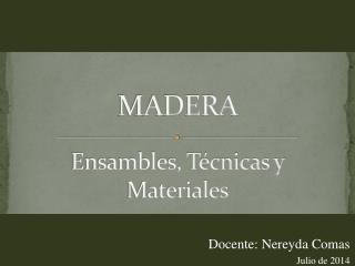 Ensambles, Técnicas y Materiales