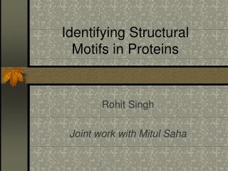 Identifying Structural Motifs in Proteins
