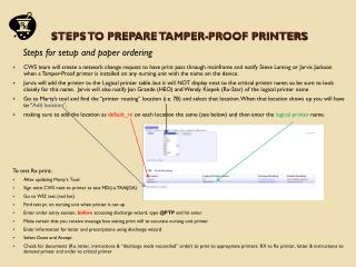Steps to prepare Tamper-Proof printers