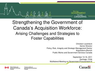 Strengthening the Government of Canada's Acquisition Workforce: