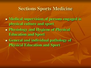 Sections Sports Medicine