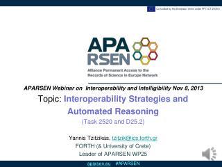 APARSEN  Webinar on  Interoperability and  Intelligibility Nov  8, 2013