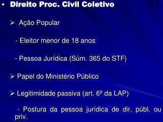 Direito Proc. Civil Coletivo   Ação Popular    - Eleitor menor de 18 anos