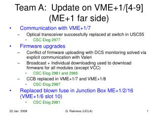 Team A:  Update on VME+1/[4-9] (ME+1 far side)