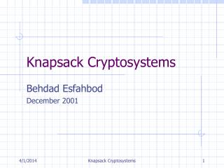 Knapsack Cryptosystems