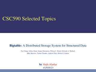 CSC590 Selected Topics