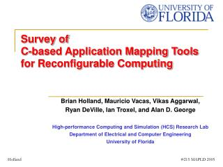 Survey of C-based Application Mapping Tools for Reconfigurable Computing