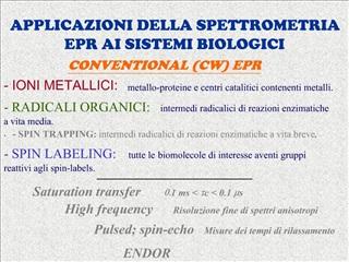 APPLICAZIONI DELLA SPETTROMETRIA EPR AI SISTEMI BIOLOGICI