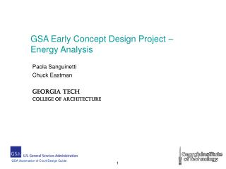 GSA Early Concept Design Project – Energy Analysis