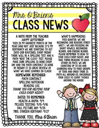 Mrs. O'Brien's  Class News