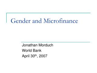 Gender and Microfinance