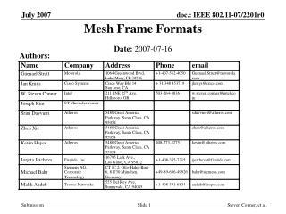 Mesh Frame Formats