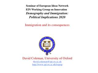 Seminar of European Ideas Network  EIN Working Group on Innovation Demography and Immigration: