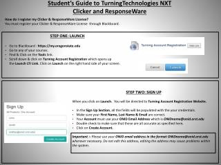 Student's Guide to  TurningTechnologies  NXT Clicker and  ResponseWare
