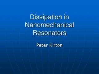 Dissipation in Nanomechanical Resonators