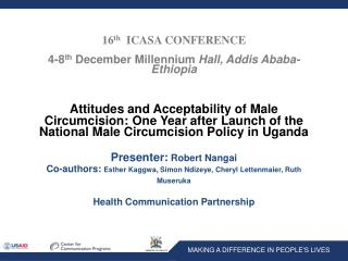 16 th   ICASA CONFERENCE 4-8 th  December Millennium  Hall, Addis Ababa-Ethiopia