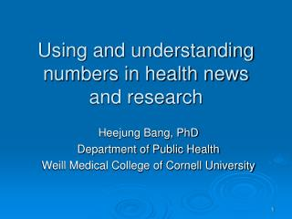 Using and understanding numbers in health news and research