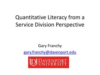 Quantitative Literacy from a Service Division Perspective