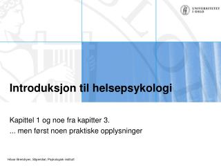 Introduksjon til helsepsykologi