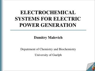 ELECTROCHEMICAL SYSTEMS FOR ELECTRIC POWER GENERATION