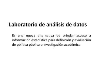 Laboratorio de análisis de datos